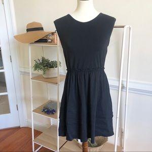 Theory black linen blend mini dress